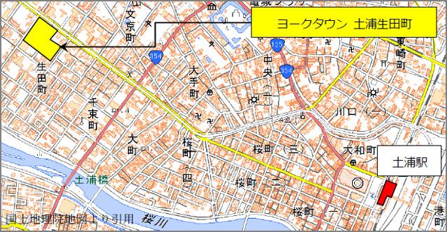 ヨークタウン土浦生田町地図20170310