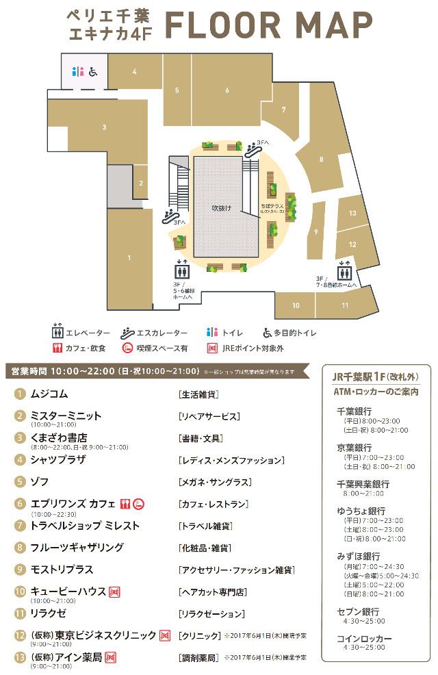 ペリエ千葉エキナカ4階フロアマップ20170328