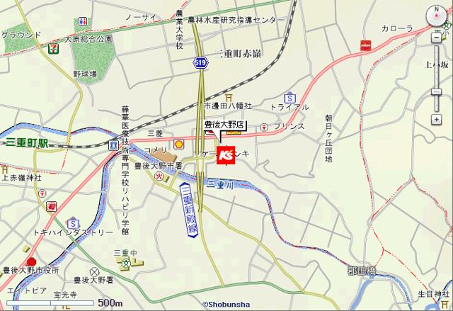 ケーズデンキ豊後大野店地図