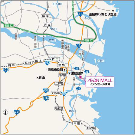 イオンモール徳島広域地図20170309