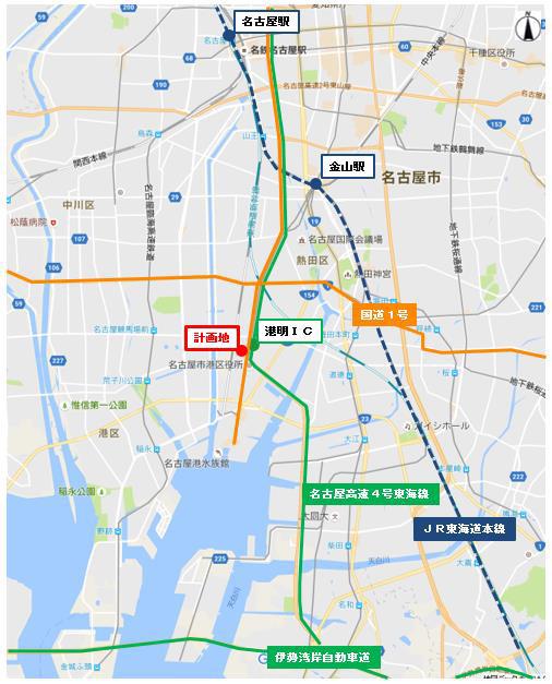 ららぽーと名古屋港明仮称計画地広域地図20170330