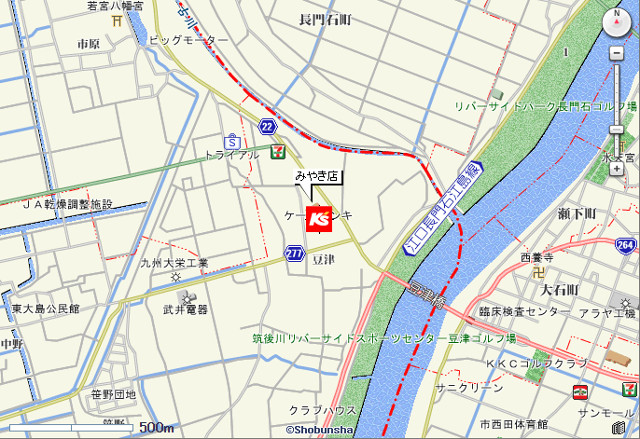 ケーズデンキみやき店地図20170415
