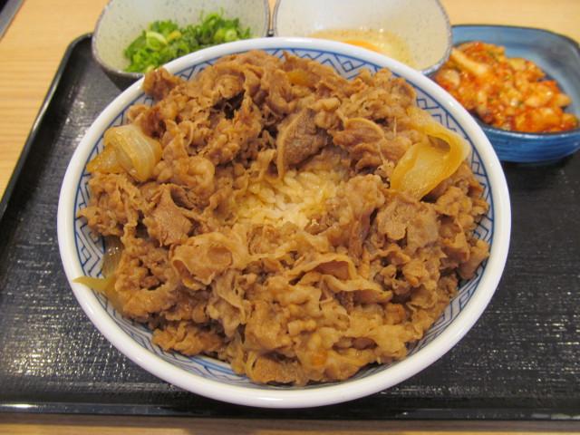 吉野家牛丼大盛の中央にスペースを空けるナナメ20170428