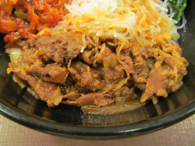 すき家ロカボ牛ビビン麺の牛肉