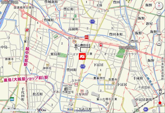 ケーズデンキ富山豊田店地図