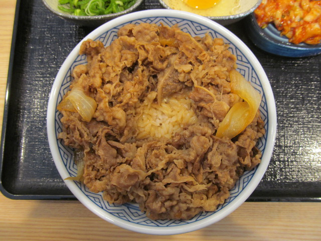 吉野家牛丼大盛の中央にスペースを空ける20170428