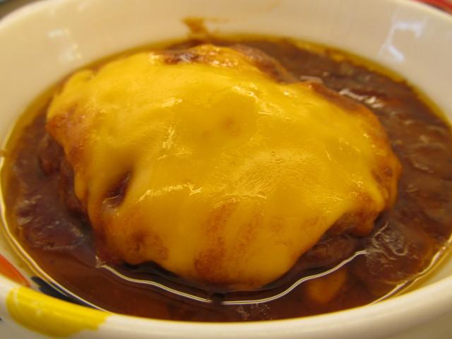 松屋ブラウンチーズハンバーグ定食のチェダーチーズ