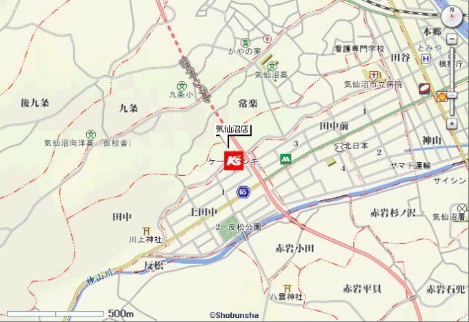 ケーズデンキ旧気仙沼店地図20170415
