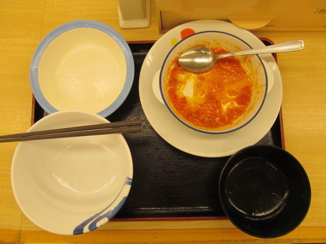 松屋トマトチーズハンバーグ定食大盛を完食完飲
