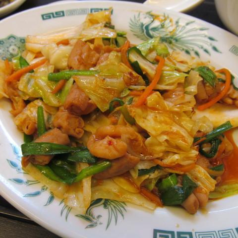 日高屋モツ野菜スタミナ炒め定食ライス大盛賞味サムネイル