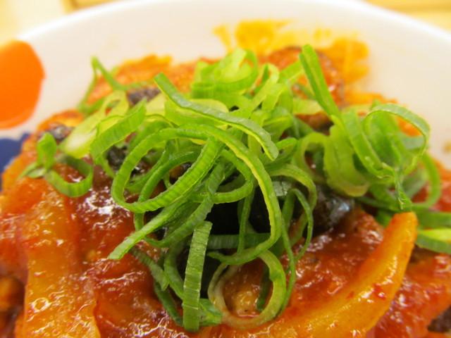 松屋鶏の甘辛味噌定食2017の青ねぎ