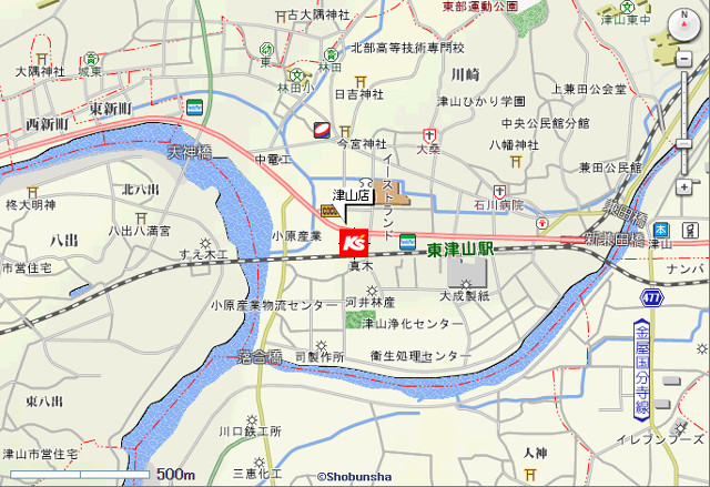ケーズデンキ津山店地図