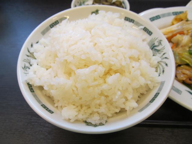 日高屋モツ野菜スタミナ炒め定食の大盛のライス