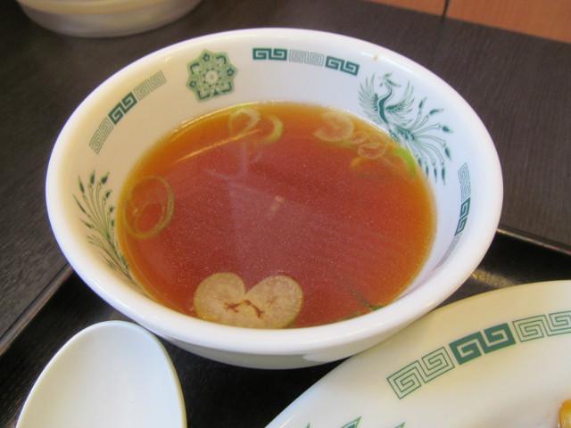 日高屋モツ野菜スタミナ炒め定食のスープ