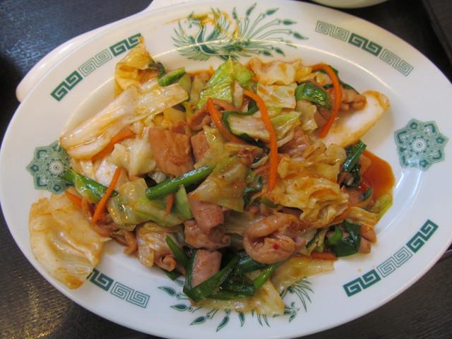 日高屋モツ野菜スタミナ炒め定食のメイン真上