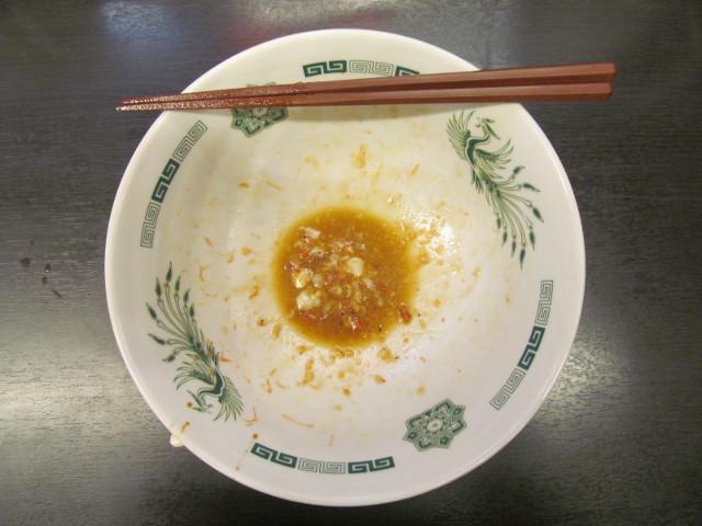 日高屋桜エビ汁なしラーメンの残った汁