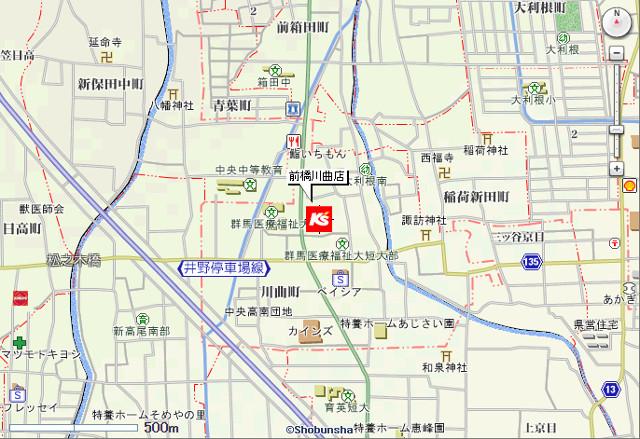 ケーズデンキ前橋川曲店地図