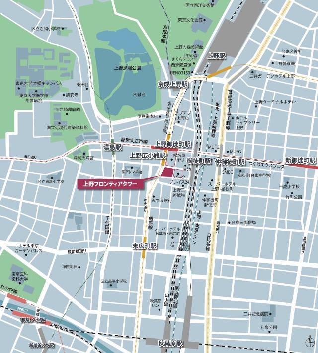 上野フロンティアタワー地図20170918