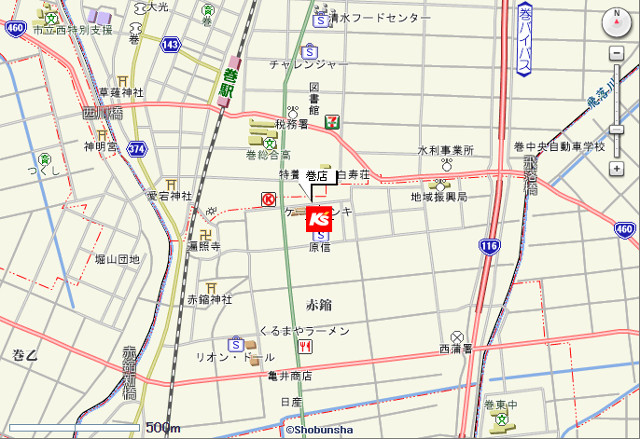 ケーズデンキ巻店地図20171028