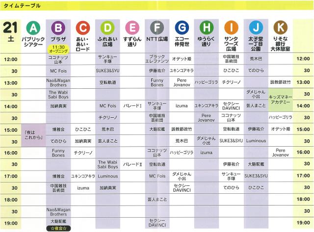 三茶de大道芸2017scan21日タイムテーブル切り抜き640_20171012