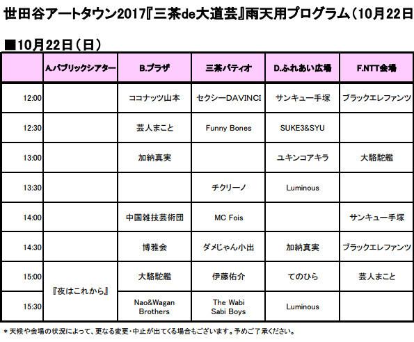 三茶de大道芸2017_2日目雨天プログラム左側20171022