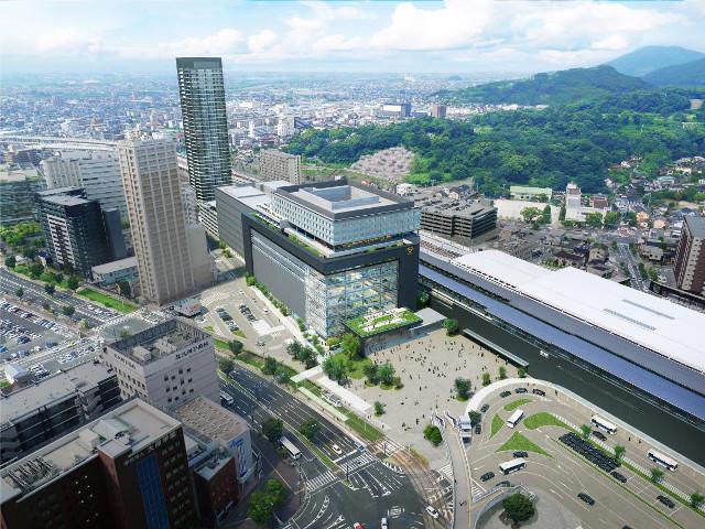 熊本駅ビル鳥瞰イメージ20171108