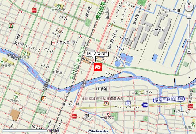 ケーズデンキ旭川大雪通店地図20171111
