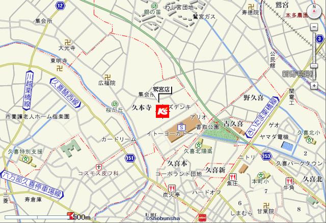 ケーズデンキ鷲宮店地図20171102