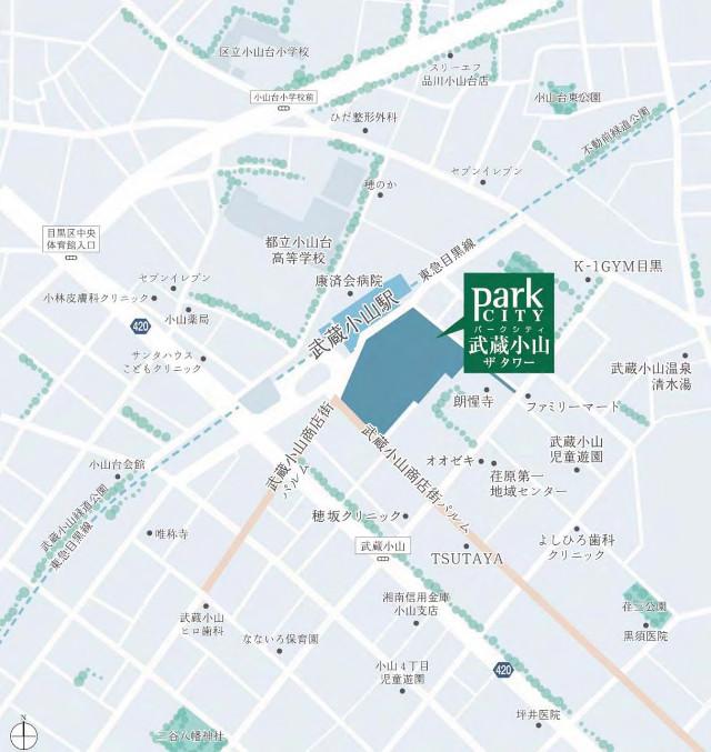 パークシティ武蔵小山ザタワー建設地地図20171120