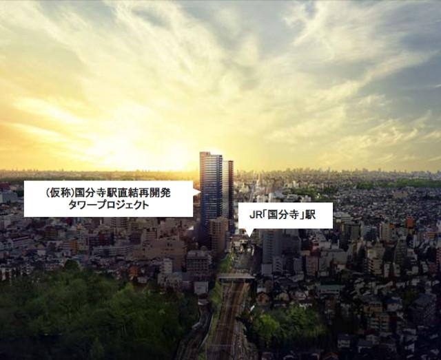 国分寺駅北口2015年時点での再開発タワーマンション鳥瞰イメージ20171130