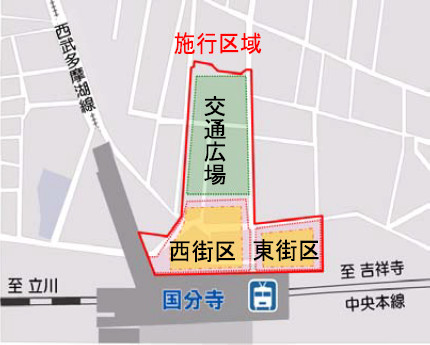 国分寺駅北口再開発2015年時点での位置図20171130