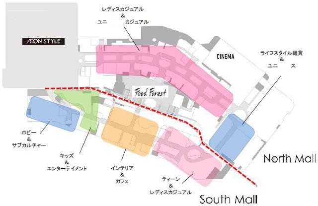 イオンモール宮崎増床リニューアル2階フロアマップ20180111