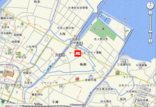 ケーズデンキ中津店地図20180113