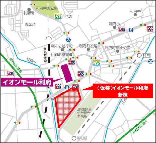 イオンモール利府新棟周辺地図20180205