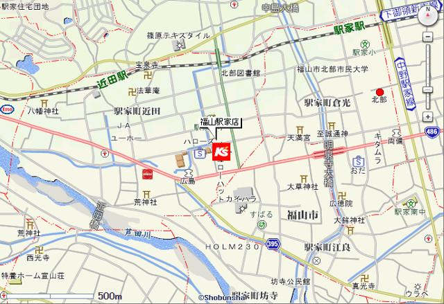 ケーズデンキ福山駅家店地図20180210