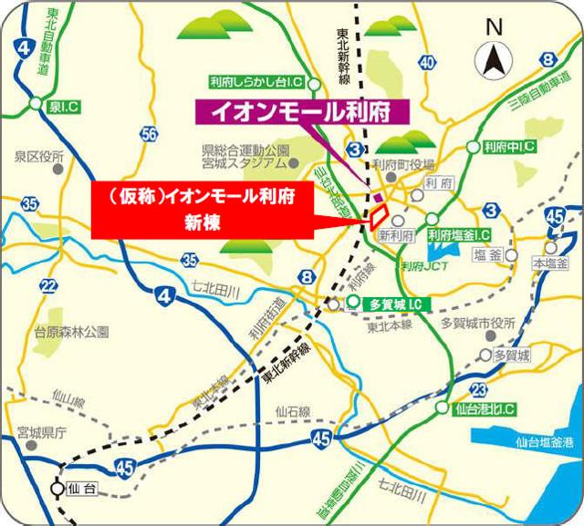 イオンモール利府新棟広域地図20180205