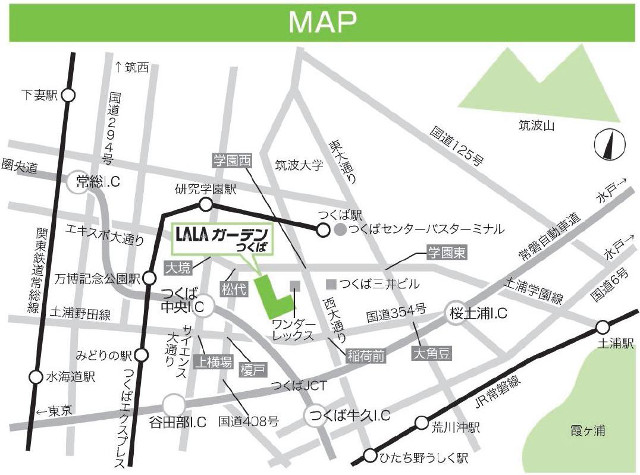 LALAガーデンつくば地図20180312