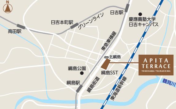 アピタテラス横浜綱島広域地図20180309