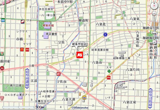 ケーズデンキ岐阜宇佐店地図20180428