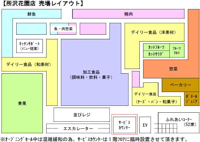 ヨークマート所沢花園店フロアマップ20180510