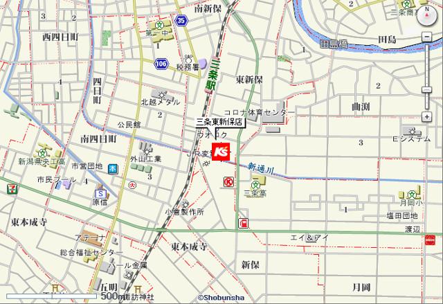 ケーズデンキ三条東新保店地図20180630