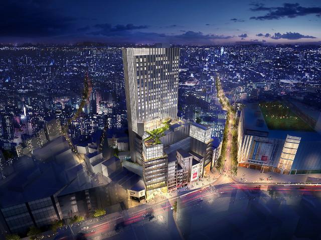 ドンキホーテ渋谷区道玄坂二丁目開発計画仮称_鳥瞰イメージ夜間20180813