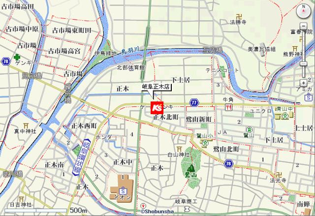 ケーズデンキ岐阜正木店地図20180901