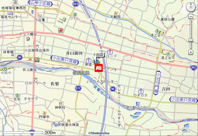 ケーズデンキ小出店地図20181103