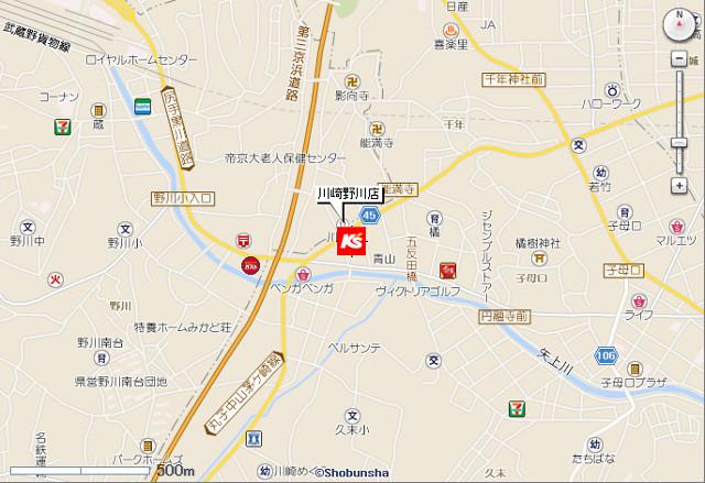 ケーズデンキ川崎野川店地図20190310