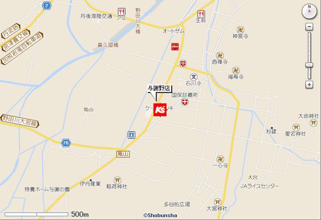 ケーズデンキ与謝野店地図20190309