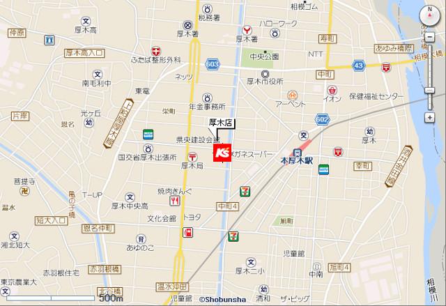 ケーズデンキ厚木店地図20190316