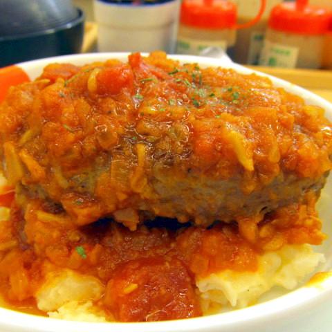 松屋トマトソースビーフハンバーグステーキ定食2019大盛賞味サムネイル480調整後