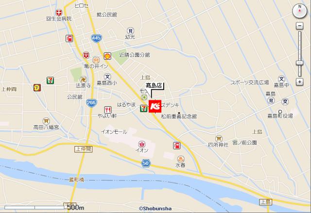 ケーズデンキ嘉島店地図20190406