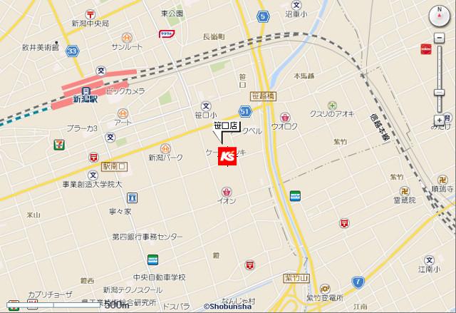 ケーズデンキ笹口店地図20190413